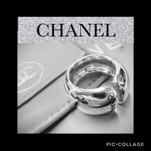 🍒CHANEL 925 Sterling Silver Ring Vintage Auth